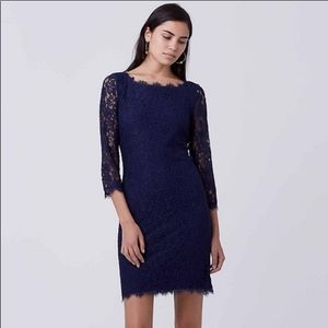 Diane Von Furstenberg Zarita Navy Lace Dress 6